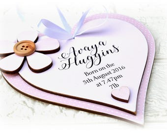 New Baby Birth Announcement Heart Plaque