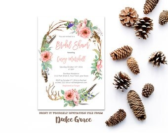 bridal shower invitations, bridal shower invites, dog rose invites, feathers bridal shower, antlers invites, flower crown party, pdf invite