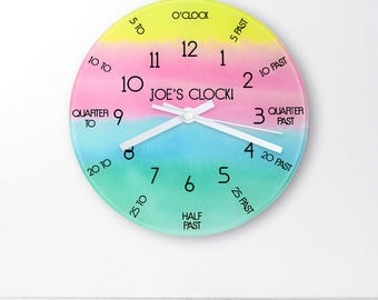 Personalised Wall Clock - Glass Wall Clock - Kids Wall