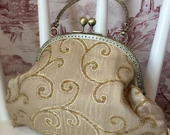 Gold Handbag, Wedding Bag, Wedding Purse, Bridal Bag, Evening Bag, Evening Purse, Special Occasion Bag, Prom Bag, Kiss Clasp, Gifts for Her