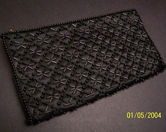 Authentic Vintage Foreign Made  60'S Black Beaded Evening Purse  * Beautiful