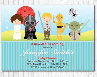 Star Wars Baby Shower Invitation, Star wars Baby Shower invite, Blue, Red. Baby Boy, Digital Printable Invitation