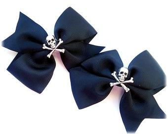 Black Skull gothic punk rock Hair bows