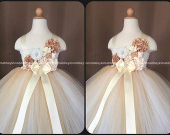 Flower girl tutu dress in champagne and ivory