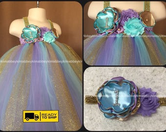 Beautiful baby girl first birthday dress in lavender ,aqua and  gold bling straps and number one 12-18 months