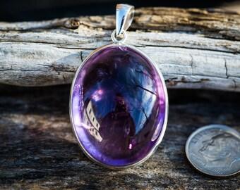 Amethyst Pendant - Amethyst Cabochon Necklace - Amethyst Cabochon - Amethyst Pendant - Purple Amethyst Pendant - February birthstone -