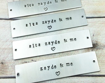 Hand Stamped Aluminum Tag, Personalized Metal Tag, Custom Name Plate Tag, Custom Message Metal Tag, Labeling Tag, Picture Frame Metal Label