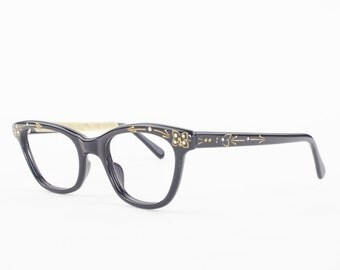 60s Vintage Cateye Eyeglasses   1960s Black Horn Rimmed Cateye Glasses with Crystal Details   NOS Eyeglass Frame   Deadstock Eyewear - Rona