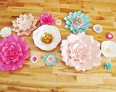 Set of 6 Flowers - Fucshia, White, Teal/Aqua, and Light Pink with Gold accents