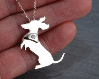 Shorthaired Dachshund Doxie Handcrafted sterling silver necklace