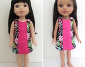 Black Floral / Hot Pink Sleevless Dress fits Dolls such as Wellie Wishers and Hearts for Hearts