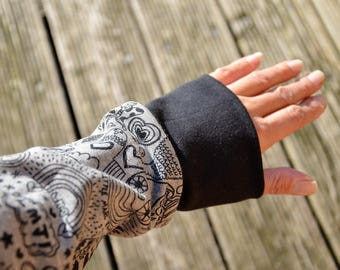 Arm warmers Drygloves gray black comic
