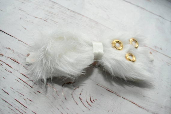 Plush white and gold faux fur christening bow - Baby / Toddler / Girls / Kids Elastic Hairclip / Hair Barrette / Hairband / Headband