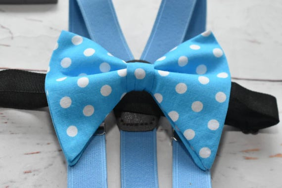 Turquoise blue and white polka dot floppy / butterfly bow tie with red Braces / Suspenders for Baby, Toddlers and Boys (Kids Bow Ties)
