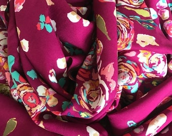 Floral Rayon Infinity Scarf - Handmade - For Her, Spring Fashion, Mother's Day, Summer