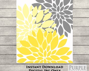 "Flower Bursts Blossoms Botanical Printable Art 1- 8"" x 10"" // Grey and Yellow // Digital Fine Art Wall Art Home Decor INSTANT DOWNLOAD(49-1)"
