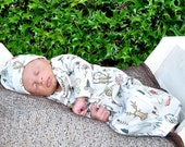 organic newborn gown, elk gown, infant gown, coming home outfit, layette, unisex baby clothes, natural baby clothes, woodland baby clothes