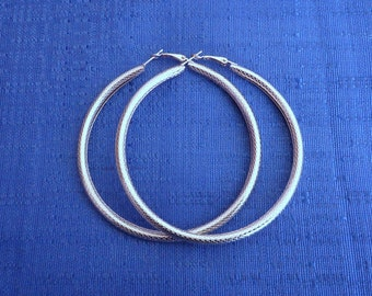 "Vintage 80's Silver Hoop Earrings, 3"" Hoop Earrings, Large Hoop Earrings,Bangle Earrings"