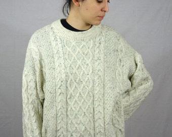 Vintage 80s Pull Sweater Beige Cream Cable Knit Oatmeal Wool Blend Men Mens Women Womens Winter M L Medium Large