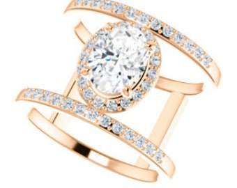 25% OFF Moissanite Diamond Double Band Ring, 14K Rose Gold Statement Ring