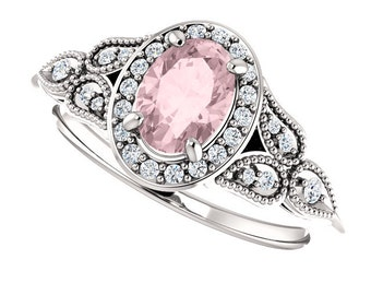 Morganite Diamond Vintage Style Ring, Multi stone, 14k white gold, non traditional engagement