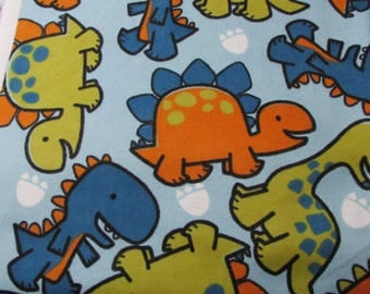 Flannel Fabric - Dinosaurs on Blue - 1 yard - 100% Cotton Flannel