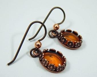 Amber Earrings. Amber Drop Earrings. Amber Dangle Earrings. Amber in Copper Settings.