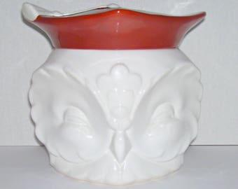 Vintage Goebel Graduation Owl Head Cookie Jar White Red Cap