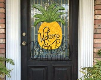 """SUMMER Pineapple Door Hanger """"Welcome"""" Hand Painted"""