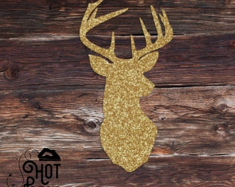 Deer Head Iron On - Reindeer Silhouette - Holiday - Glitter - DIY - Iron on Decal -Baby - Child - Adult - Create Your Own - Applique - Shirt