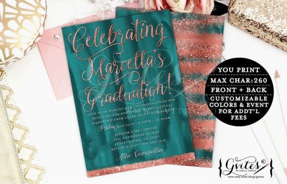 Teal & Copper Graduation invitation, modern, rose gold glitter printable invitations, couture, glitz and glam fashionable, glamorous, sleek.