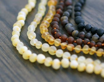 Amber Teething Necklace - Raw Baltic Amber - Baby Necklace - Baltic Amber Necklace - Baltic Amber Jewelry -  Baby Gifts - Baby Shower Gift