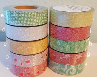 """Pick Any Selection of Glitter Washi Tape (Let us know the style numbers in order under """"Notes"""")"""