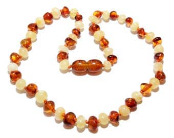 Genuine Baltic Amber Baby Teething Necklace Mixed Beads 31 - 33 cm Amber Teething Necklace