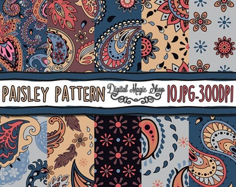Abstract Paisley Digital Paper, Seamless pattern, Hand Drawn  - 10pcs 300dpi (paper crafts, card making, scrapbooking) Commercial use