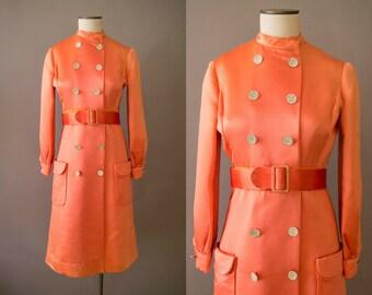 vintage 1960s dress / 60s mod orange coat dress / small