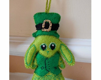 St Patricks Day Bunny, Felt Ornament, Lime Green Bunny, Felt Animal, St Patricks Day Gift, Car Decor, Hanging Decoration, Green Gifts