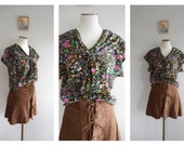 SALE // Vintage 80s Floaty Floral Blouse // Button Down // Folk Shawl Collar Top  // HIPPIE*HIPPY // Boho Festival // Tie Front  // Size: S
