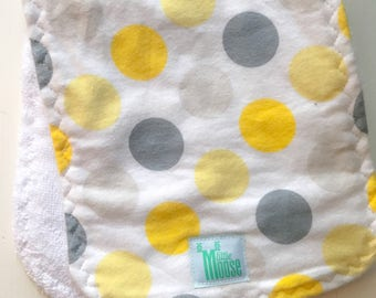 Burp Cloth - Polka Dot - Gray and Yellow - Flannel and Terry Cloth - Thick and Absorbant