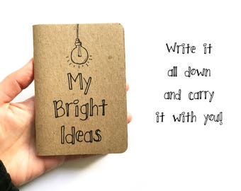 Pocket Notebook - Small Notebook, Pocket Journal - Travel Journal - Blank Pages - My Bright Ideas - Kraft Notebook - Back to School