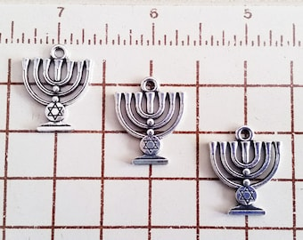 10 Menorah Silver Tone Charms with Star of David Jewelry Supplies MSTC24MM-10WD2