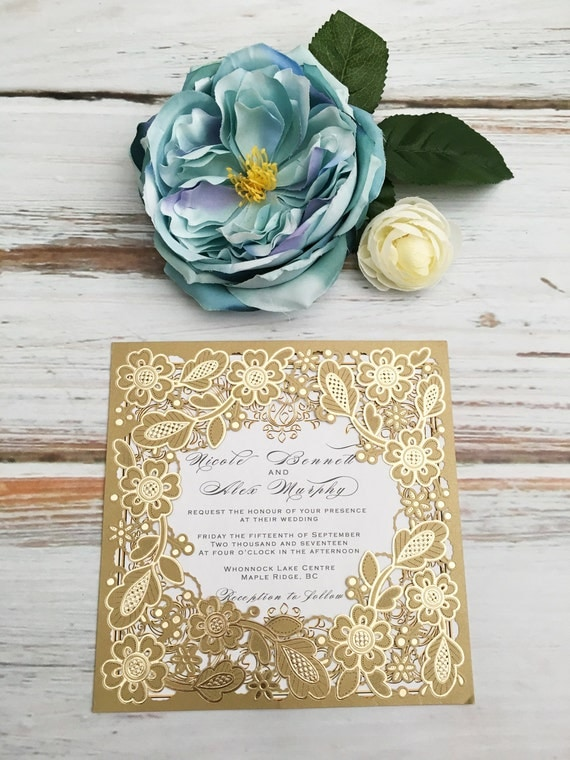 Embossed and Gold Foil Laser Cut Wedding Invites, Invitations, Laser Cut Invitation, Invitation Bundle, Wedding Invite, Invites