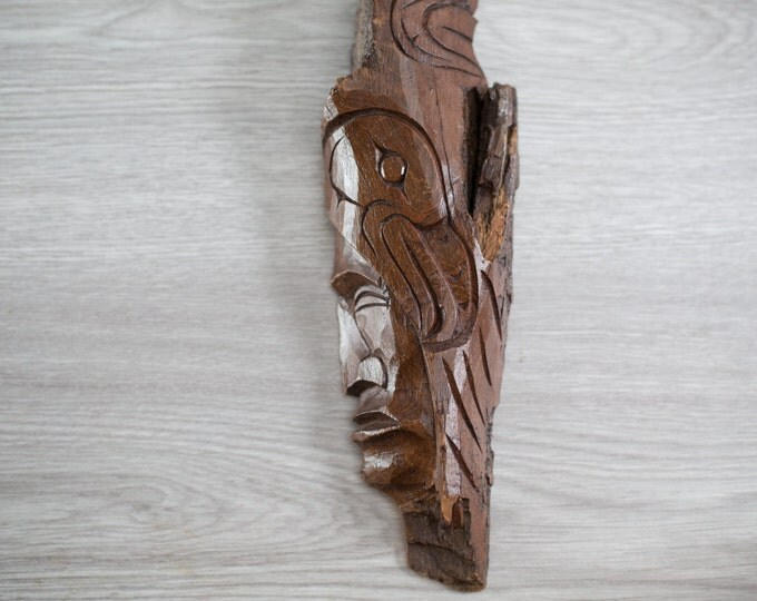 Hand-carved Wood Totem signed by Darcy Joseph of the North Coast British Columbia Squamish First Nation