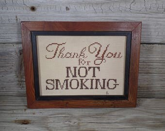 Handmade Framed Needlepoint Thank You For Not Smoking Sign Housewarming Gift No Smoking Sign Office Decor Embrodery Needlepoint Wall Sign