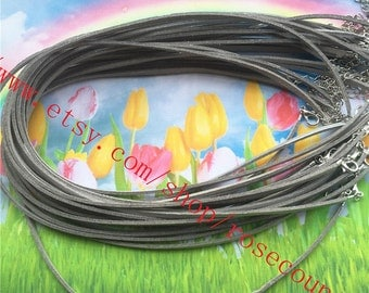 Wholesale 100pcs 16 inch 3x1.5mm metallic suede leather cord necklace with lobster clasps plus 2 inch extender