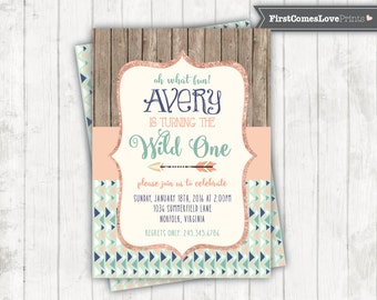 Wild One First Birthday Invitation Peach and Mint Tribal Arrows Aztec Pattern 1st Birthday Invite She's a Wild One JPEG Printable Invitation