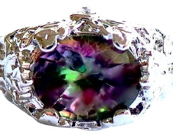 Elegant Design Mystic Topaz 915 Sterling Silver 14k Ring