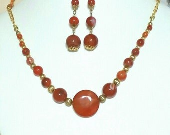 Red Carnelian Necklace and Earring Set