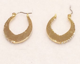 "Vintage Gold Tone 1""  Gold Tone  Earrings Pierced With Faux Diamond Accents on Side"