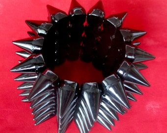 Runway Gothic Black Spike Stretch Bangle Bracelet